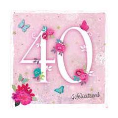 40 jaar - felicitatiekaart - gefeliciteerd - bloemen