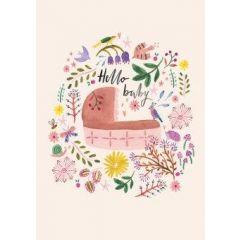 geboortekaart roger la borde - hello baby - draagmand roze