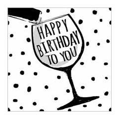 verjaardagskaart  piano handwriting - happy birthday to you - wijnglas