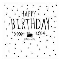 verjaardagskaart  piano handwriting - happy birthday make a wish - taart