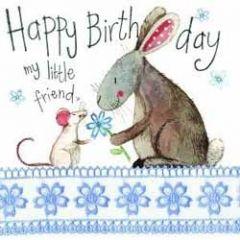 verjaardagskaart alex clark - happy birthday my little friend - muis en konijn