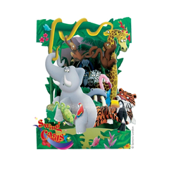3D kaart - swing cards - dieren in oerwoud