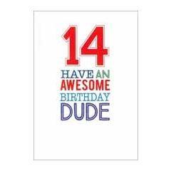 14 jaar - verjaardagskaart - 14 have an awesome birthday dude