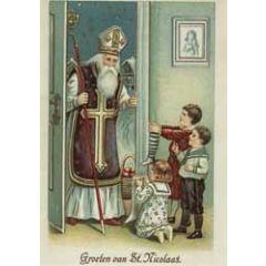 sinterklaaskaart - retro ansichtkaart  - groeten van St. Nicolaas
