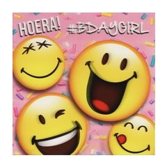 3D verjaardagskaart smileys - hoera bdaygirl
