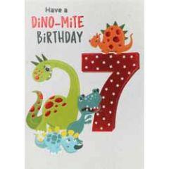 7 jaar - verjaardagskaart - have a dino-mite birthday - dinosaurus