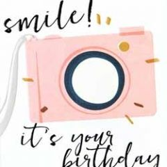 verjaardagskaart caroline gardner - screenprint - smile it is you birthday - camera