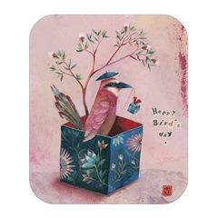 ansichtkaart met envelop - tv kaart - izou - happy bird day