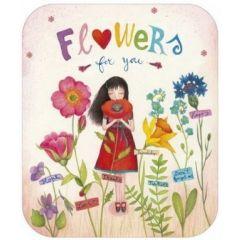 ansichtkaart met envelop - tv kaart - mila - flowers for you