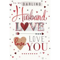 grote luxe handgemaakte valentijnskaart - to my darling husband love you