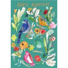 verjaardagskaart roger la borde -  happy birthday - vogels