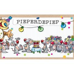 verjaardagskaart - pieperdepiep hoera - kat en muizen