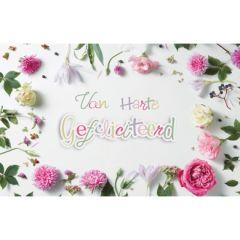 felicitatiekaart - van harte gefeliciteerd - bloemen