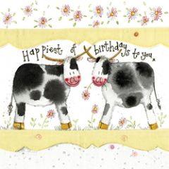 verjaardagskaart alex clark - happiest of birthdays to you - koeien
