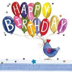 verjaardagskaart alex clark - happy birthday - vogel met ballonnen