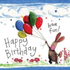 verjaardagskaart alex clark - happy birthday have fun! - konijn met ballonnen