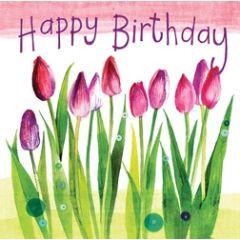verjaardagskaart alex clark - happy birthday  -  tulpen