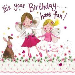 verjaardagskaart alex clark - it is your birthday have fun! - meisjes en konijn