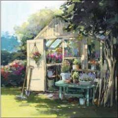 wenskaart woodmansterne - broeikas in tuin