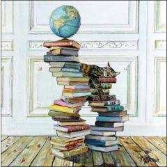 wenskaart woodmansterne - kat op stapel boeken