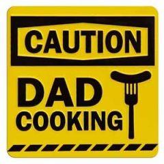 tinnen magneet - caution dad cooking