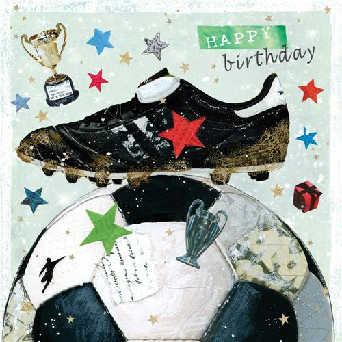 Verjaardagskaart Happy Birthday Voetbal Schoen Muller Wenskaarten